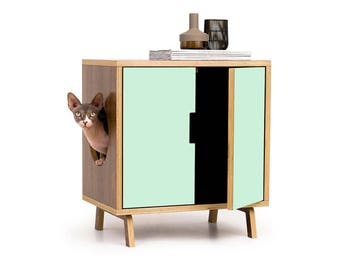 Mid century modern pet furniture cat litter box by modernistcat - Modern cat litter box furniture ...