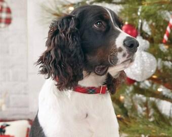 Personalized Christmas Tartan Dog Collar by Mudpie®, Monogram Dog Collar, Embroidered Dog Collar