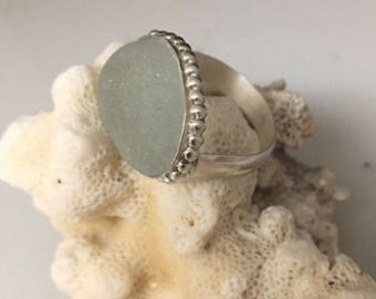 Grey Sea Glass Ring