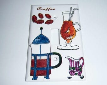 Coffee, Coffee, Coffee Single Light Switch Cover, Kitchen, Iced Coffee, Creamer, Hot Coffee, Coffee Beans