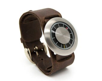Brown Leather Cuff Watch, Wide Leather Watch - Orbital Special Edition