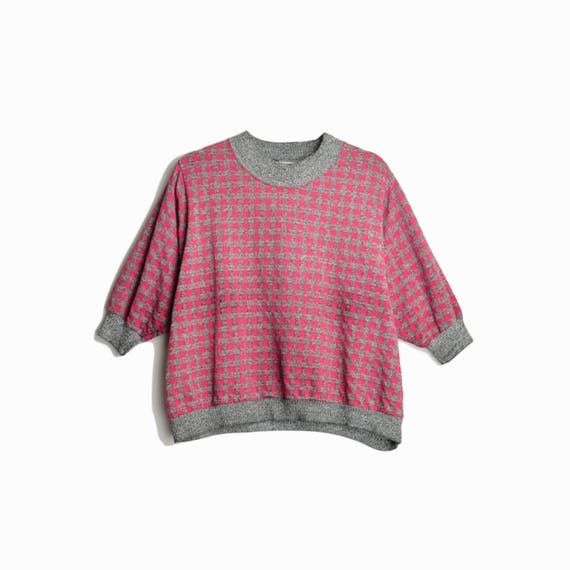Vintage 80s Checkered Dolman Pullover in Gray & Pink / 80s Sweatshirt - Women's Medium/Large