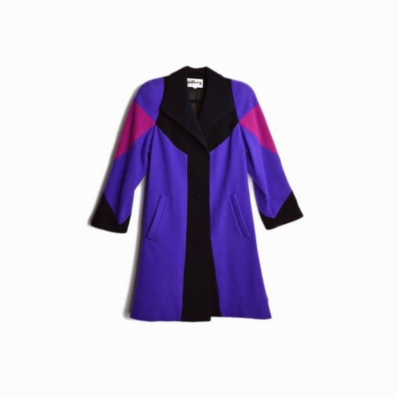 Vintage 80s Colorblock Swing Coat in Purple & Black / Purple Wool Coat - women's small