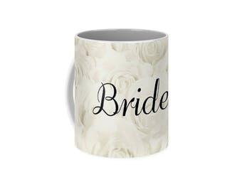 """Light Ivory """"Bride"""" Mug, wedding bridal cup, floral print, gift for bride, bridal gift, bridal shower gift, destination wedding- 1610IVBRIDE"""