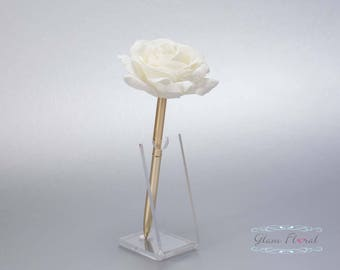Cream White Rose Guestbook Pen. Gold Wedding Pen Set, Wedding Pen Holder, Real Touch Rose Flowers, White, Ivory. Tea Rose Collection