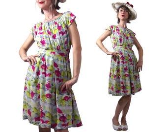 1940's Rayon  Ballerina Print Day Dress