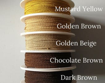 50m roll of twisted cord - rayon cord 1.5mm - pick your colour