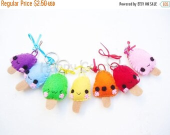 ON SALE - Popsicle Keychain or Phone Charm - Ice Cream Keychain, Kawaii Keychain, Felt Food, Key Ring, Party Favors, Stocking Stuffer