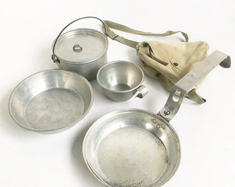Mid Century Official Boys Scout of America Mess Kit - Cooking Set with Canvas Shoulder Pouch