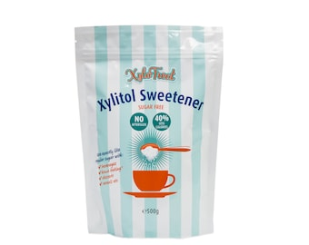 Xylotreat Xylitol Table top Sweetener - Sugar Replacement. Suitable for diabetics , 40% less calories than cane sugar. No aftertaste. 500g.