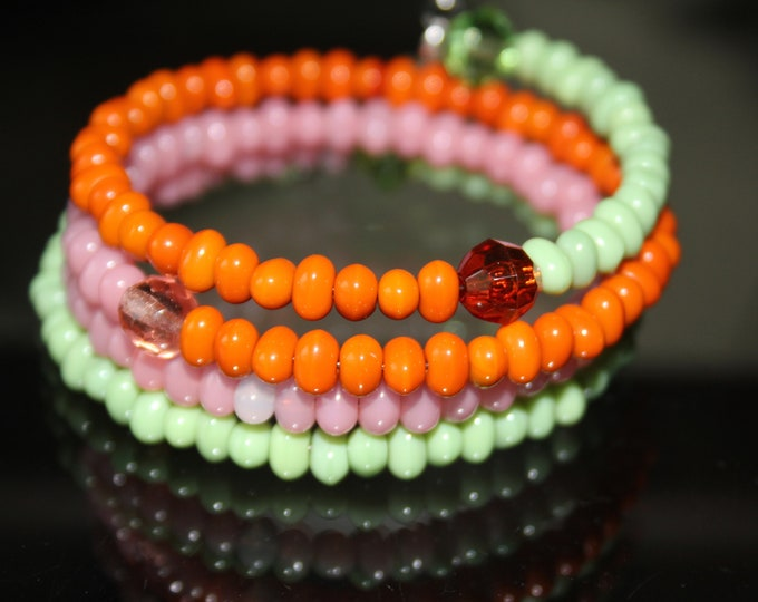 Pastel Pink, Green and Orange Glass Bead Wrist Wrap Cuff Memory Wire  Bracelet