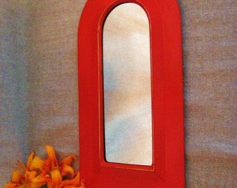 SALE Arched MIRROR in Red Orange Metal Frame / Painted Brass Framed Mirror in Red-Orange WALL Decor or Accent Piece Small Mirror