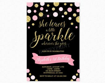 She Leaves a Little Sparkle Birthday Party Invitation, Polka Dot Birthday Party Invitation, Pink, Gold Glitter, Black, Printable or Printed