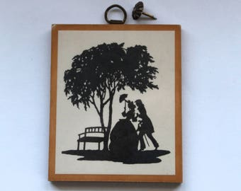 Vintage 1960's Victorian Couple Sillhouette Wooden Wall Plaque!