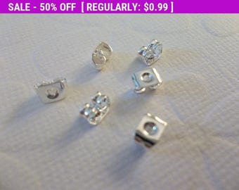50% OFF Clearance SALE Ear Clutch Silver Plated Earrings Backs Nuts for Post Earring Findings - Qty 10