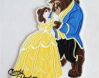 Ready to Ship RTS Boutique Custom Beauty Beast Belle  beast Dancing embroidery princess Applique Patch iron on DIY 5x7