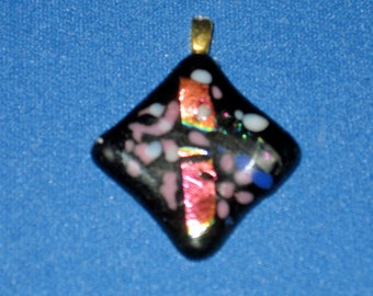 DICHROIC Fused Black Pink Blue DIAMOND Shaped Pendant w Gold Bail ~ SIGNED