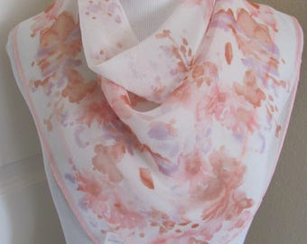 "VERA // Beautiful White Pink Floral Sheer Scarf // 22"" Inch 56cm Square // Best of the Best"