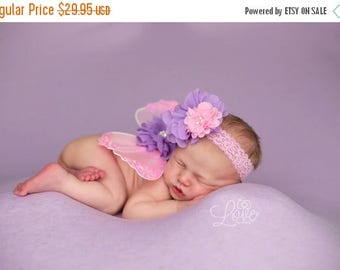 ON SALE NEWBORN Wings, wings and headband set, Pink and Lavender wings, Angel Wings, newborn photography prop, baby wings, fairy wings Free