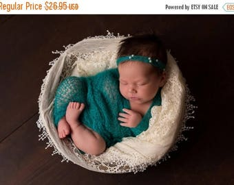 ON SALE Jade/Teal Mohair Wrap Set, Baby Girl Prop, Wrap and Tie Back Headband, Wrap Set, Baby Girl Wrap, Newborn Photo Prop, Photography Pro