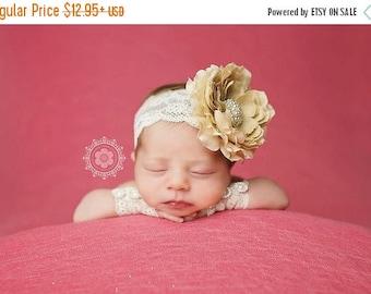 ON SALE Newborn Photography Prop, Newborn headband, Newborn wristlets and headband set, baby photography prop, vintage headband