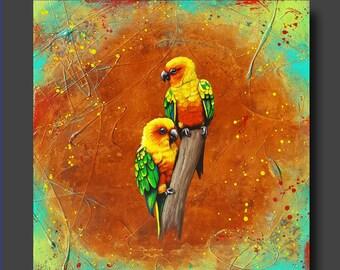 HUGE SALE 20% OFF - Realistic Bird Painting - Parrots - Sun Conure - Bright Happy Art - 24x24 - Amazon Sun by Britt Hallowell