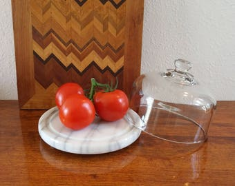 Marble based cheese cloche, display dome, fruit saver, vintage kitchen