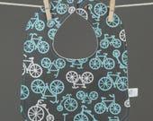 Blue Bicycle Bib, Cotton Baby Bib, Shower Gift Under 20, Bicycle Nursery, Baby Snap Bib, Bike Baby Gift, Shower Gift Bicycle
