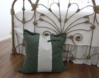 Altered FRENCH vintage ARMY Pillow Euro SHAM, Military Canvas, Authentic Ticking, Officer French name Badge