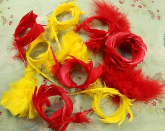 Antique vintage lot curled millinery feather red yellow shade cloche hat 1920s flapper mink edwardian victorian hat trim