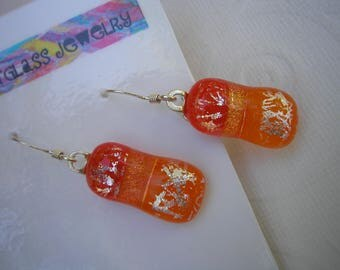 Dichroic Jewelry - Orange Dangle Earrings - Orange Earrings - Sterling Earrings - Dichroic Earrings - Orange Jewelry - Fused Glass - Dicro