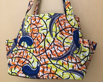 Katrina#1734, African Fabric Project Tote, Knitting Project Tote, Bright Knitting Bag, Knitting Bag, Yarn Bag, Storage Tote, Expanding Tote