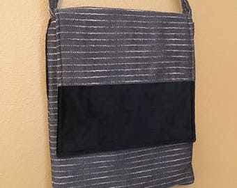 Mary#1302, Black and Gray Upholstery Purse, Upholstery and Upholstery Velvet Purse, Black and Gray Purse, Shoulder Purse, Bags and Purses,