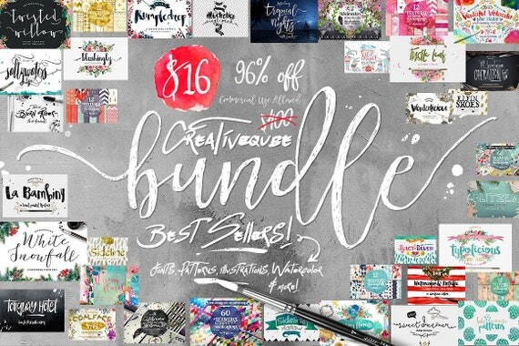 96% Off Sale, Bundle of Fonts and Graphics, modern calligraphy fonts, wedding fonts, Brush fonts, script fonts, Watercolor, Digital Paper