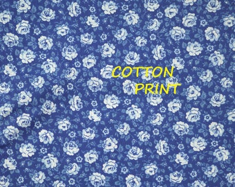 1/4 YARD, Blue White Floral Print, Quilt Cotton Fabric, Roses Flowers, Medium Weight, B44