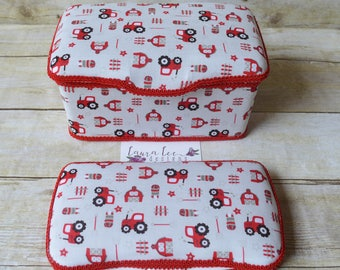 Set of 2, Large Nursery Wipe Case and Travel Baby Wipe Case, Red and Gray Tractors and Barn Farm Life, Baby Shower Gift Set, Baby Wipes Tub
