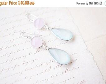 SALE Earrings, Silver Earrings, Chalcedony Earrings, Rose Quartz Earrings, Aquamarine Earrings, Gemstone Earrings, Handmade Earrings, Gift