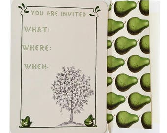 Thanksgiving Invitations in green and ivory Pear Scented Partridge in a Pear Tree
