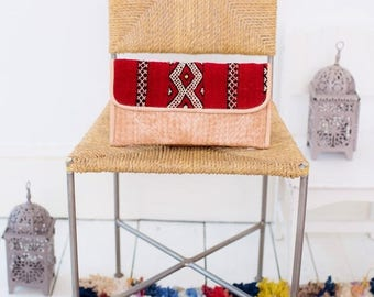 10% OFF Summer SALE // Moroccan Red Kilim Hand Clutch with Shoulder Straps Berber style-bag, tote, handbag, purse, weekender,gifts