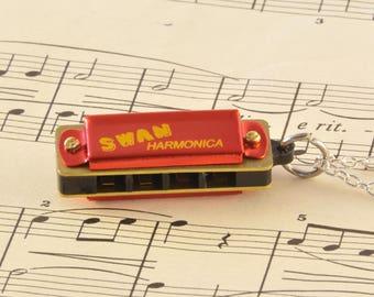 Working Harmonica Necklace - Harmonica Lover Gift - Red Miniature Harmonica