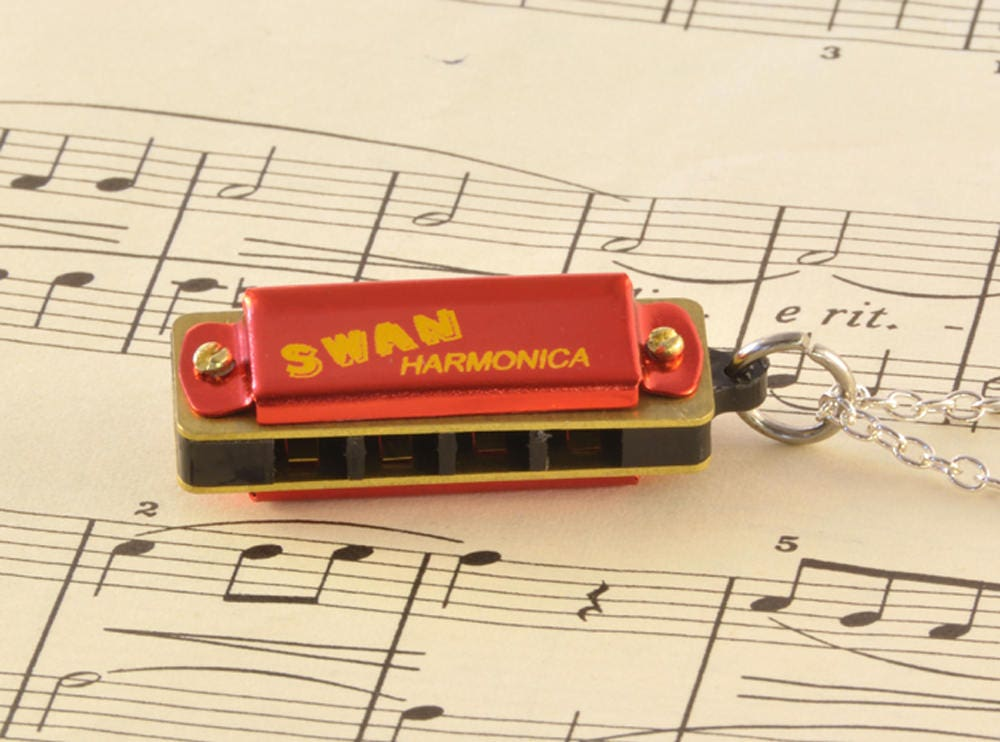 Working Harmonica Necklace - Harmonica Lover Gift - Red Miniature Harmonica
