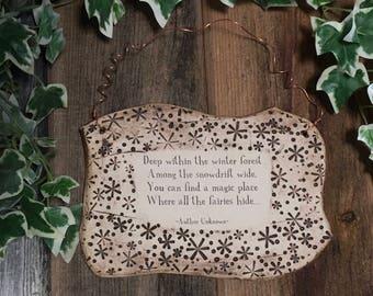 Handmade  Fairy Verse Ceramic Plaque