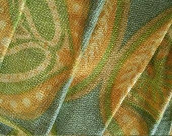 6 Linen Napkins green yellow