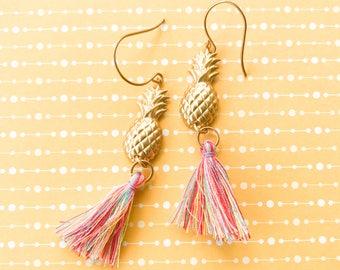 Pineapple Earrings Gold Brass and Colorful Summer Tassel Dangle Earrings Boho Gypsy Rainbow Casual Fun Beach Vacation Cruise Jewelry Rainbow