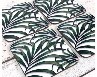 Palm Leaf Print Coasters - Tropical Drink Coasters - Palm Tree Decor - Tropical Homeware - Summer Garden Party Tableware - Botanical Coaster