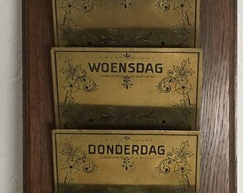 Vintage Mail Organizer  Dutch Country Cottage Chic Farmhouse Wood Brass Wall Hanging, Separate Days of the Week