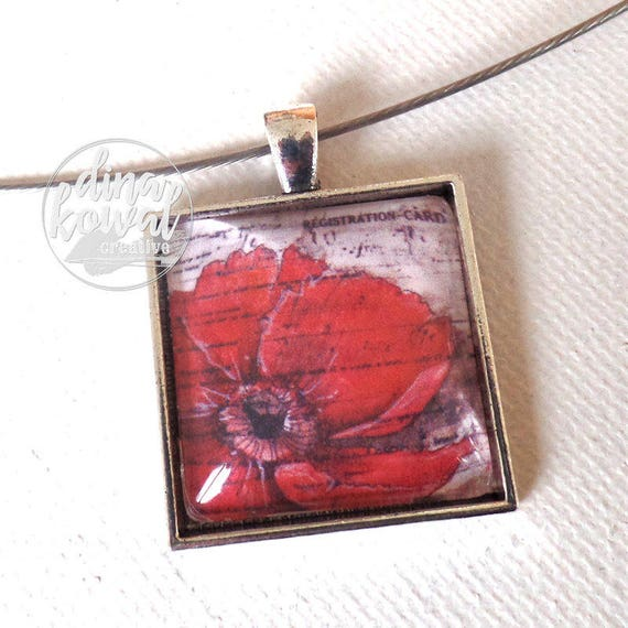 Red Poppy - Veterans - Remembrance- domed glass tile pendant necklace