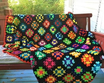 Vintage Granny Square Afghan Colorful Beauty