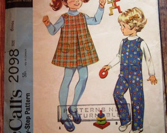 Vintage 1960s Easy to Sew Infant Toddlers Jumper and Coveralls Size 6 Months McCalls Pattern 2098 Cut/Complete
