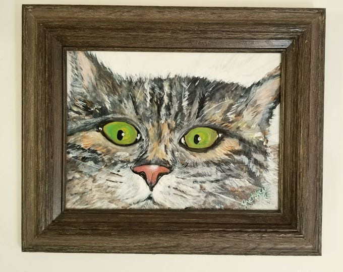 Cat watching you Original Acrylic Framed Painting Free Shipping USA